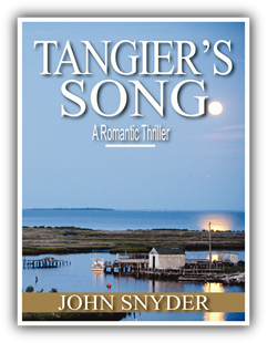 Image: Tangier's Song Book Cover water scene and docks with full moon in background